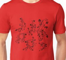 Floral Music Notes Unisex T-Shirt