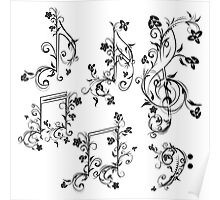 Floral Music Notes Poster