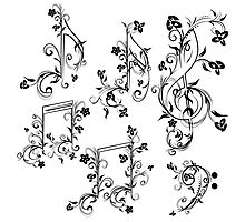Floral Music Notes Photographic Print