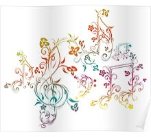 Floral Music Notes 2 Poster