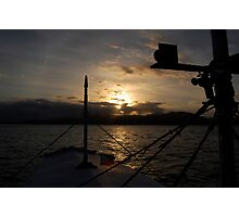 silhouette of a boat in Palawan, Philippines Photographic Print