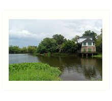 Ninoy Aquino Park and Wildlife Nature Center Lagoon Cottage view Art Print