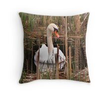Swan in the Rushes Throw Pillow