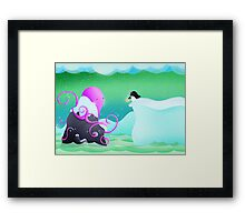 The octopus and penguin Framed Print