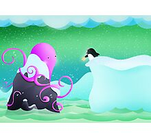 The octopus and penguin Photographic Print