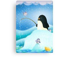 Triple Trouble penguins Canvas Print