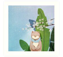 White Socks Series: Bear Under Sakura Blossom Art Print