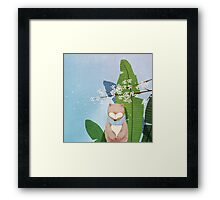 White Socks Series: Bear Under Sakura Blossom Framed Print