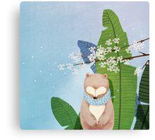 White Socks Series: Bear Under Sakura Blossom Canvas Print