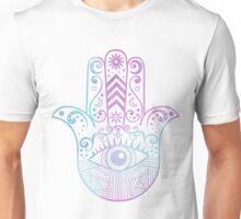 Hamsa Hand Purple and Blue Watercolor Unisex T-Shirt