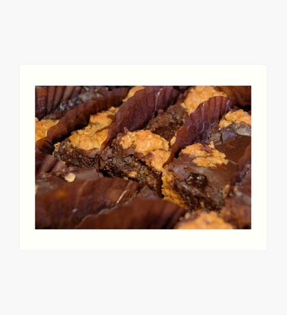 chocolate brownies with nuts Art Print