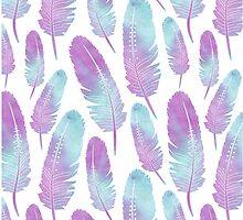 Boho Feather Pattern Watercolor Purple by JannaSalak