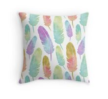 Boho Feather Pattern Watercolor Rainbow Throw Pillow