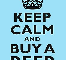 KEEP CALM, BUY A BEER, BE COOL, ON ICE BLUE by TOM HILL - Designer