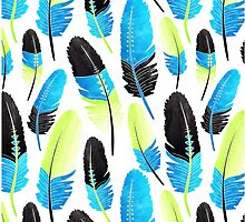 Boho Feather Pattern Watercolor Neon Blue and Green by JannaSalak