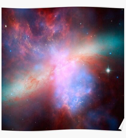 Galaxy and stars space nebula photograph hipster blue and pink print Poster