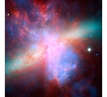 Galaxy and stars space nebula photograph hipster blue and pink print Photographic Print