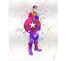 Captain America in watercolor Poster