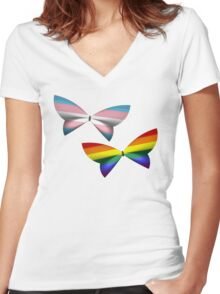 Gay Trans Pride Butterflies Women's Fitted V-Neck T-Shirt