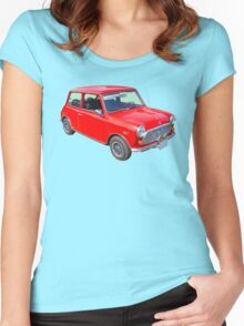 Red Mini Cooper Antique Car Women's Fitted Scoop T-Shirt