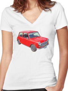 Red Mini Cooper Antique Car Women's Fitted V-Neck T-Shirt
