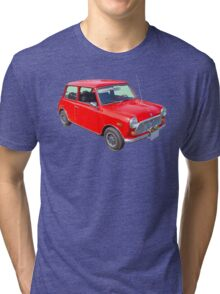 Red Mini Cooper Antique Car Tri-blend T-Shirt