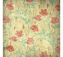 Floral pattern on old paper Photographic Print
