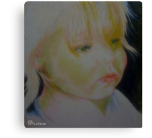 Study drawing of sad girl face Canvas Print