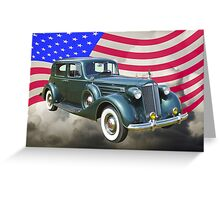 Packard Luxury Car And American Flag Greeting Card