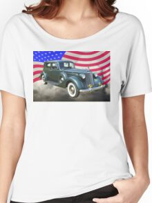 Packard Luxury Car And American Flag Women's Relaxed Fit T-Shirt