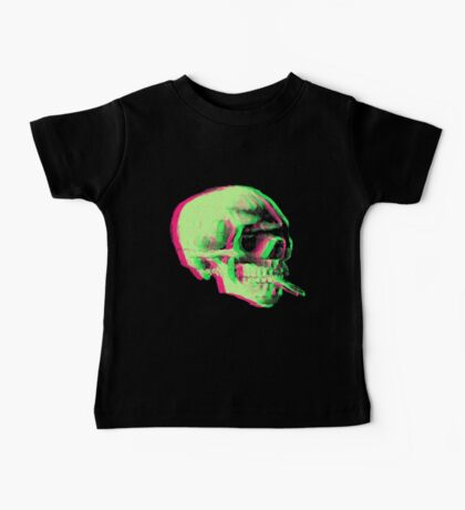 Van Gogh Skull with burning cigarette remixed Baby Tee