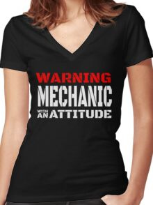 WARNING MECHANIC WITH AN ATTITUDE Women's Fitted V-Neck T-Shirt