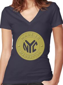 Made In New York Manhattan Women's Fitted V-Neck T-Shirt