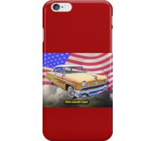 1955 Lincoln Capri Luxury Car And American Flag iPhone Case/Skin
