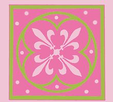 Spring Green and Pink Fleur de Lis by Greenbaby