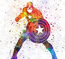 Captain America in watercolor by paulrommer