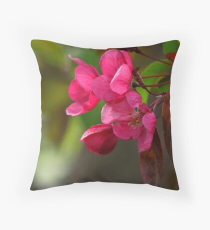 Pink Tree Blossoms Throw Pillow