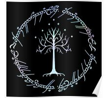 Tree of Gondor and One Ring Inscription, LOTR, Tolkien Poster
