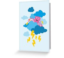 Who Makes the Thunder? - in Blue Greeting Card