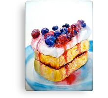 Delicious....Lucious Layer Cake with Berries and Whipped Cream Canvas Print