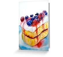 Delicious....Lucious Layer Cake with Berries and Whipped Cream Greeting Card