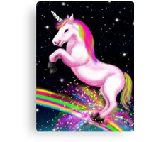 Fluffy Pink Unicorn Dancing on Rainbows Canvas Print