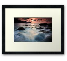 Calm Sunset and Strong Wave Framed Print