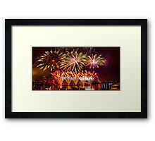 Fireworks over the Charles River.  Framed Print