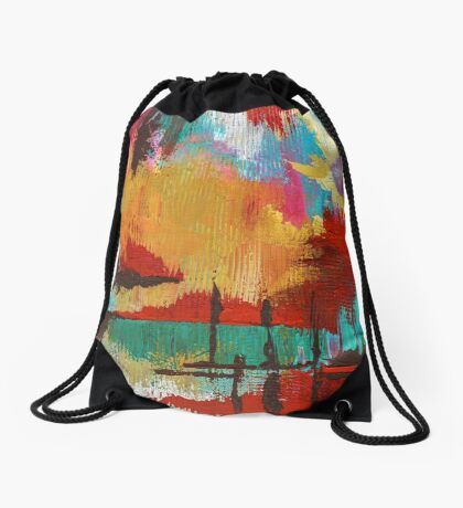 Fire in the Sky Drawstring Bag