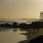 A misty Redhead beach sunset overlooking the shark tower by Tim and Loz .