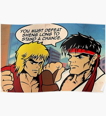 Street Fighter II Pop Art Ryu Ken Comic Shenglong Poster