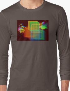 Computer Generated Abstract Squares Fractal Flame Long Sleeve T-Shirt