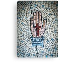 Ancient Mosaic Of A Hand And Crucifix Canvas Print