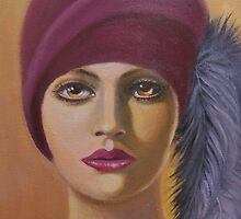 LADY WITH FEATHERS IN HER HAT by Dian Bernardo
